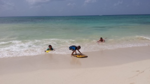Bodyboarding... or at least trying to